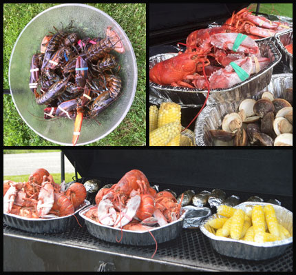 A collage of lobster bake photos with clams, corn, and potatoes